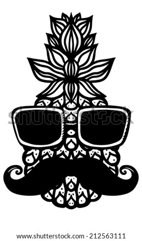 Pineapple, sun glasses, mustache black sketch cartoon hand drawn illustration isolated on a white background - raster version  - stock photo