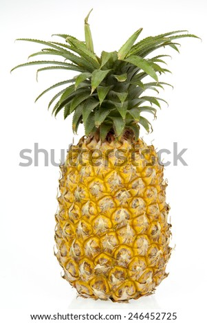Pineapple Sweet and leaves on a white background. - stock photo