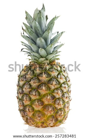 Pineapple with reflection Isolated on white background - stock photo