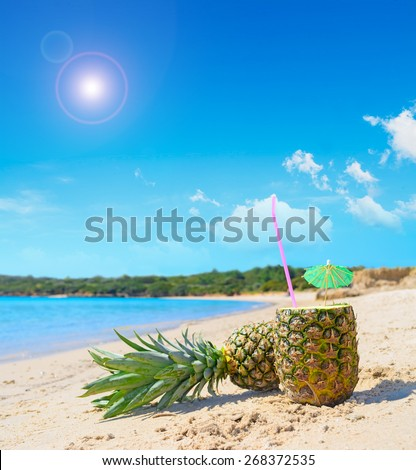 pineapples by the shore under a bright sun - stock photo