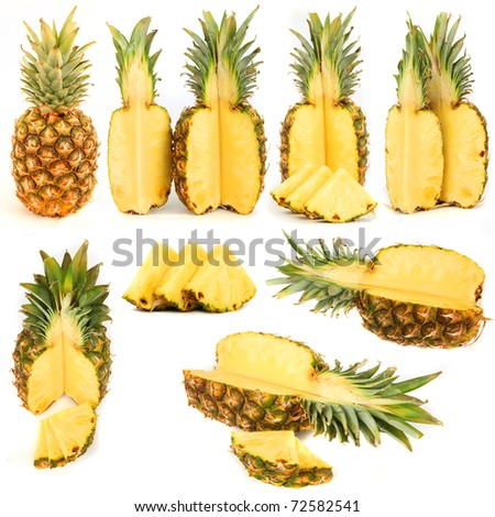 Pineapples collection isolated over white background - stock photo