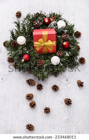 Pinecones with decorative Christmas balls and fir - stock photo
