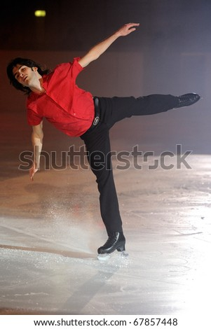 PINEROLO, ITALY - DECEMBER 26: Professional skater Samuel Contesti performs gala during the 2010 Effetto Notte on December 26, 2010 in Pinerolo Turin, Italy.