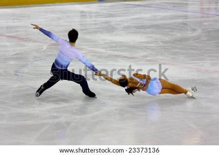 PINEROLO, ITALY - DECEMBER 20th, 2008. Italian overall 2009 Figure Skating Championships, from the 18th to the 21st of December 2008. - stock photo