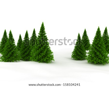Pines trees - Christmas design background  - stock photo