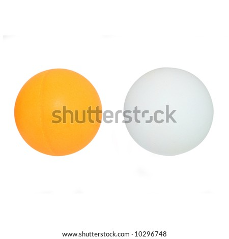Ping pong balls with clipping path - stock photo