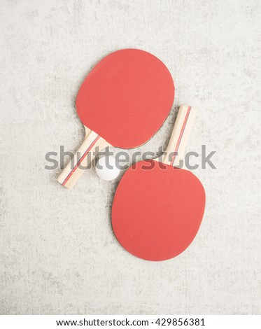 Ping pong or table tennis paddles and ball. Sport equipment with tabletennis rackets for leisure activity. Concept of game, recreation and playing ping-pong. - stock photo