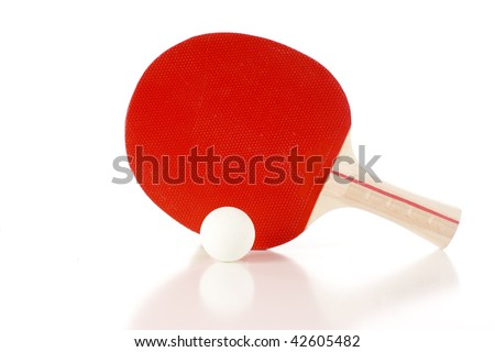 Ping Pong Paddle and Ball - Isolated over a white background - stock photo