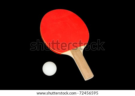 Ping Pong Paddle and Ping Pong Ball Isolated on a Black Background