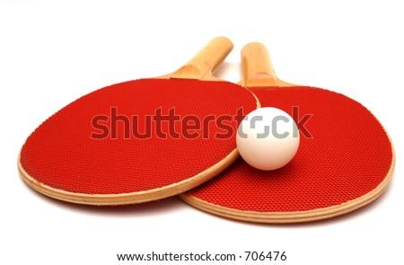 Ping Pong Paddles and Ball - stock photo