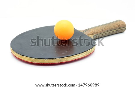 Ping pong paddles and balls isolated on white background - stock photo