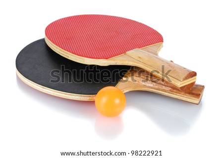 ping-pong rackets and ball, isolated on white - stock photo