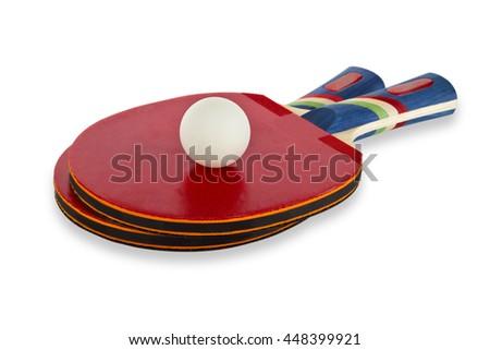 Ping Pong Set isolated on white background - stock photo