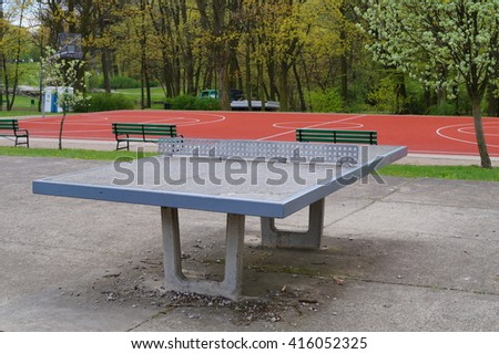 Ping pong table in a public park