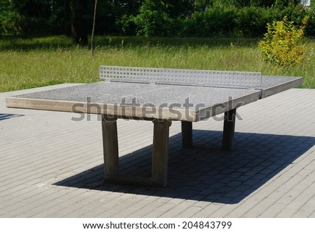 ping pong tables in a public park,Lodz