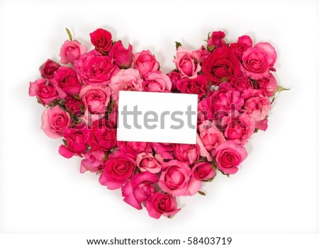 ping Rose Petals with Note Card.Rose is a flower symbol represents love, romance in Valentines Day