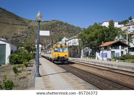 Pinhão Railway Station in the Douro reagion - stock photo