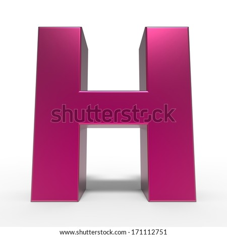 pink ABC, letter H isolated on white background - stock photo