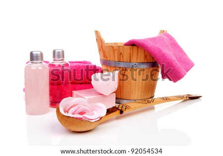 pink accessory for spa or sauna over white background - stock photo