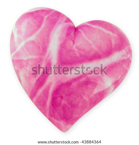 Pink Alabaster heart on white background