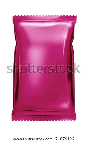 pink aluminum foil bag package with zigzag cut - stock photo