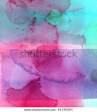 pink and blue abstract watercolor background - stock photo