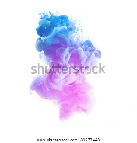 pink and blue color pigment cloud on white - stock photo