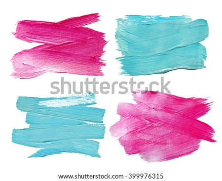 Pink and Blue Glitter Watercolor Texture Paint Stain Abstract Illustration Set. Shining brush stroke for you amazing design project. - stock photo