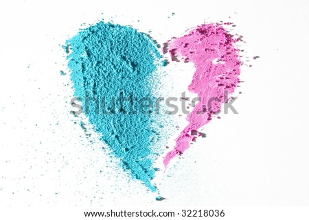 Pink and blue heart - stock photo