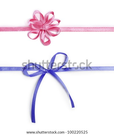 pink and blue ribbons with bows isolated on a white background