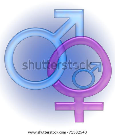 pink and blue sex symbols linked  on blue gradient illustration