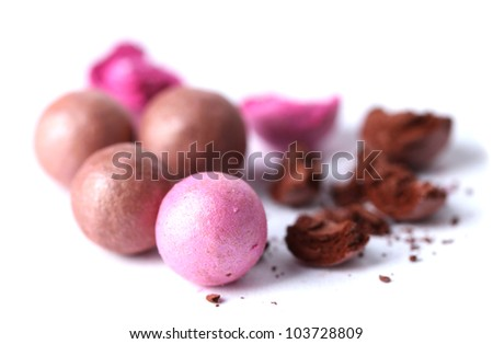 pink and brown powder balls isolated on white - stock photo