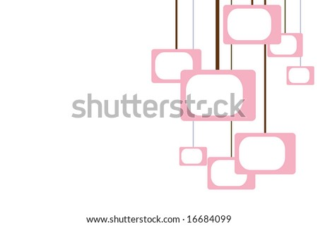 pink and brown retro pattern with room for text - stock photo
