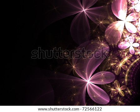 Pink and gold fractal flowers - stock photo