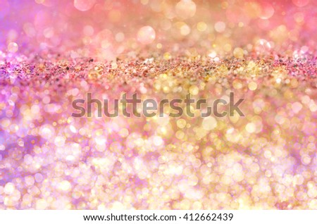 Pink and golden Glow glitter background. Elegant abstract background with bokeh  - stock photo