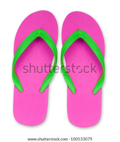 pink and green flip flop sandals isolated,included clipping path - stock photo