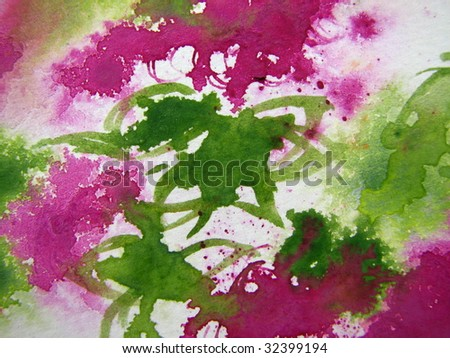 Pink and Green Floral Watercolor - stock photo