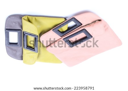 pink and green leather case isolated on white background - stock photo