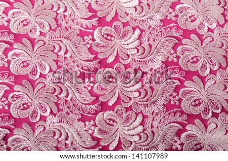 Pink and lace background - stock photo