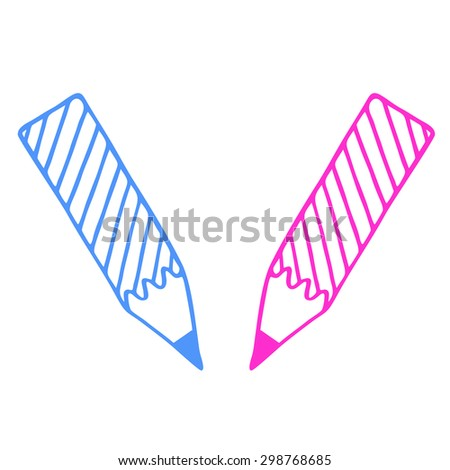 pink and light blue pencil silhouette - stock photo