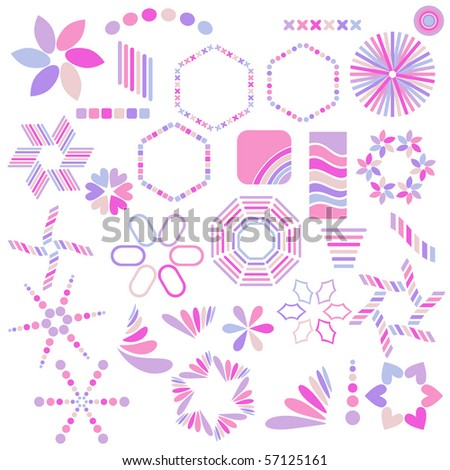 Pink and lilac symbol collection over white background