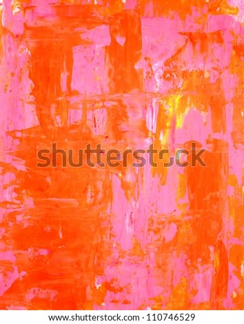 Pink and Orange Abstract Art Painting - stock photo