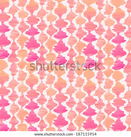 Pink And Orange Modern Watercolor Ikat Background