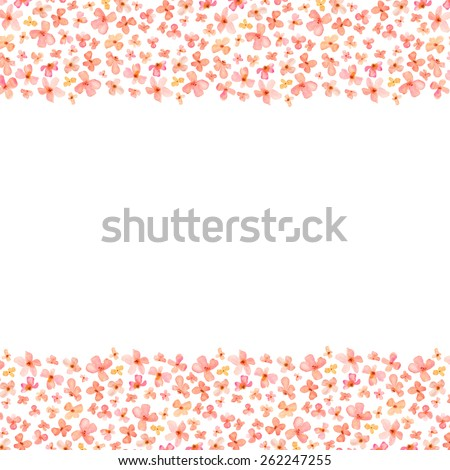 Pink and Orange Watercolor Flowers Border. Top and Bottom Border - stock photo