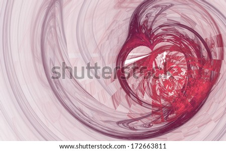 Pink and purple broken heart fractal with spiral lines on white background - stock photo