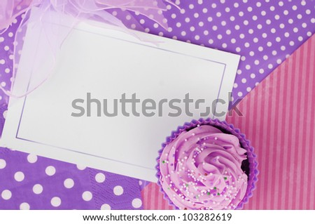 pink and purple cupcake whipped cream card design wallpaper background - stock photo