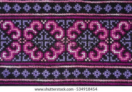 Pink Purple Handmade Thai Traditional Hmong Stock Photo Royalty