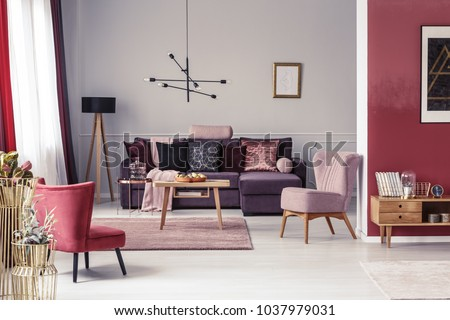 Pink Red Armchair Warm Living Room Stock Photo (Royalty Free ...