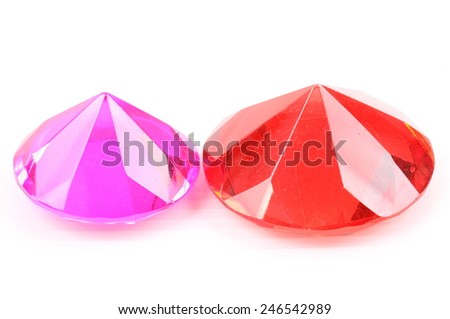 Pink and red diamond on a white background - stock photo