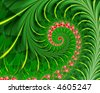 pink and red fractal spiral on abstract leafy green background - stock photo